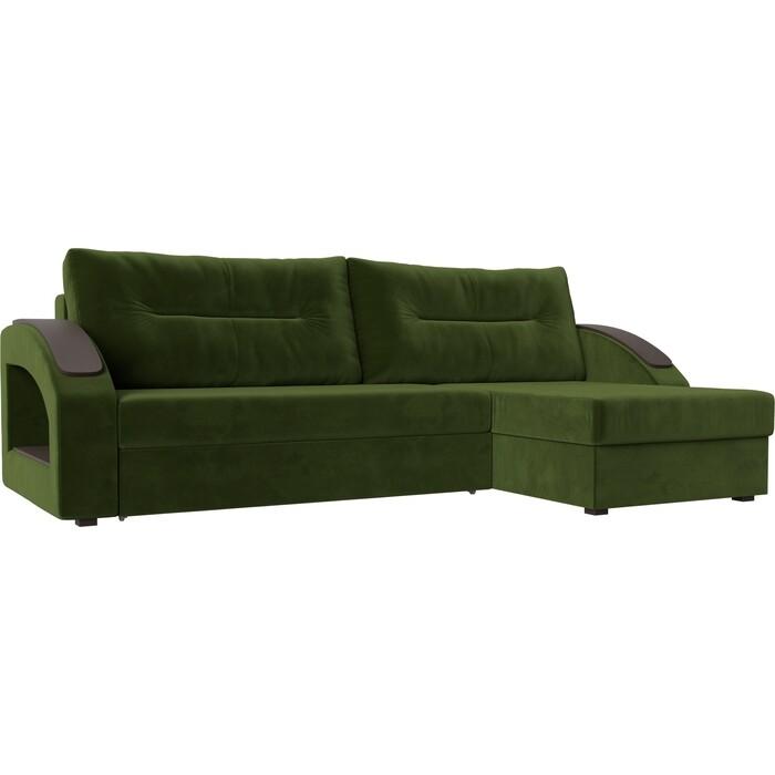 Фото - Угловой диван Лига Диванов Канзас микровельвет зеленый правый угол угловой диван лига диванов канзас микровельвет черный левый угол