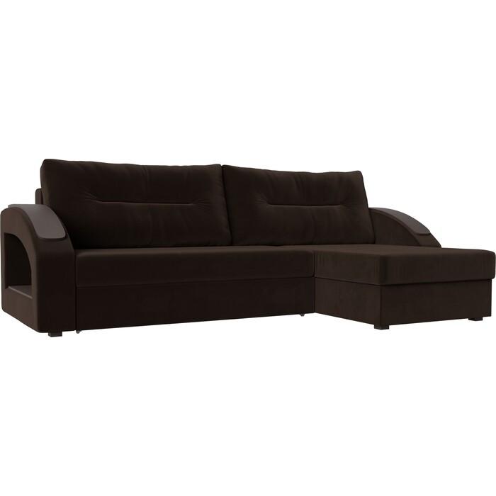 Угловой диван Лига Диванов Канзас микровельвет коричневый правый угол
