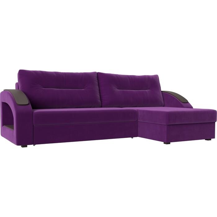 Фото - Угловой диван Лига Диванов Канзас микровельвет фиолетовый правый угол угловой диван лига диванов канзас микровельвет черный левый угол