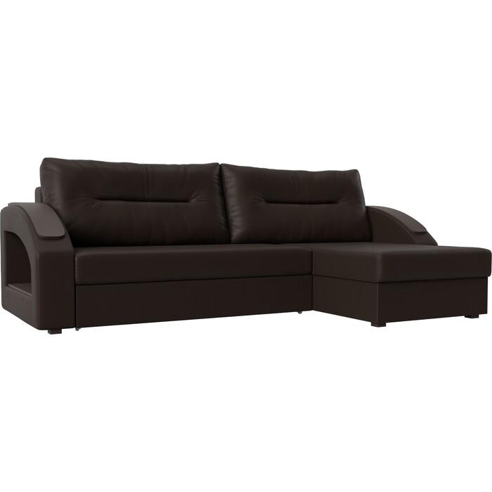 Угловой диван Лига Диванов Канзас экокожа коричневый правый угол угловой диван лига диванов эридан экокожа коричневый правый угол