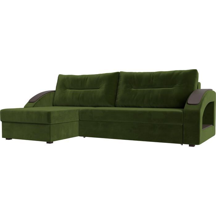 Фото - Угловой диван Лига Диванов Канзас микровельвет зеленый левый угол угловой диван лига диванов канзас микровельвет черный левый угол