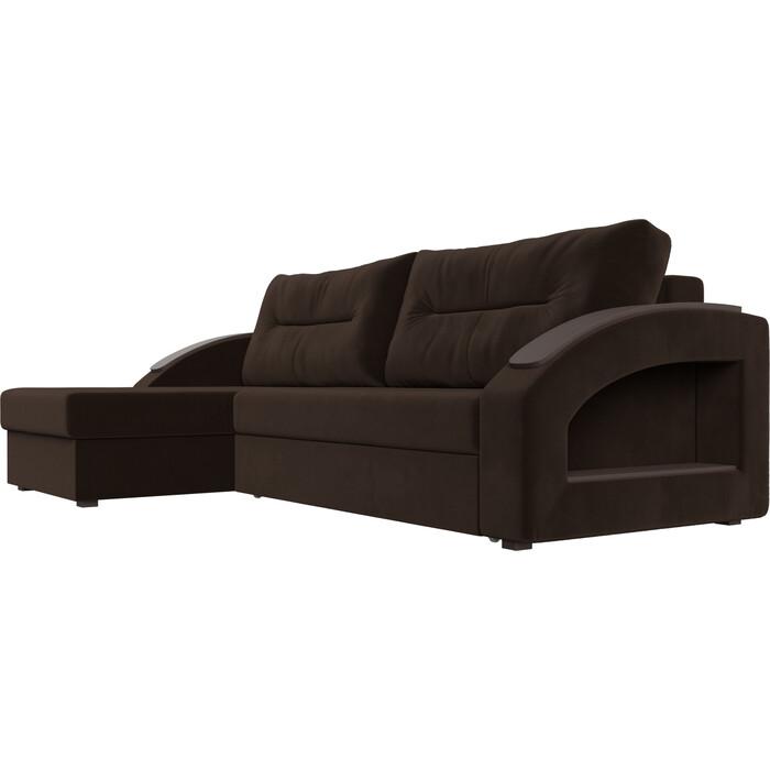 Фото - Угловой диван Лига Диванов Канзас микровельвет коричневый левый угол угловой диван лига диванов канзас микровельвет черный левый угол