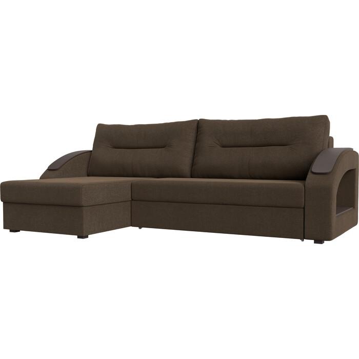 Угловой диван Лига Диванов Канзас рогожка коричневый левый угол