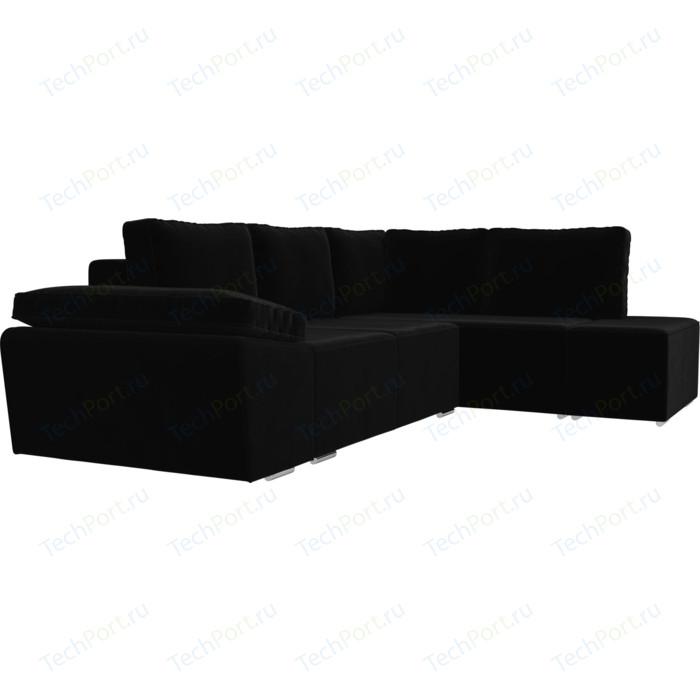 Угловой диван Лига Диванов Хавьер велюр черный правый угол диван угловой лига диванов челси велюр черный правый угол