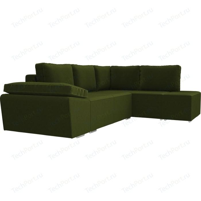 Угловой диван Лига Диванов Хавьер микровельвет зеленый правый угол угловой диван лига диванов канзас микровельвет зеленый правый угол
