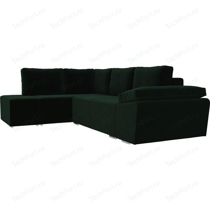 Угловой диван Лига Диванов Хавьер велюр зеленый левый угол угловой диван лига диванов хавьер экокожа белый левый угол