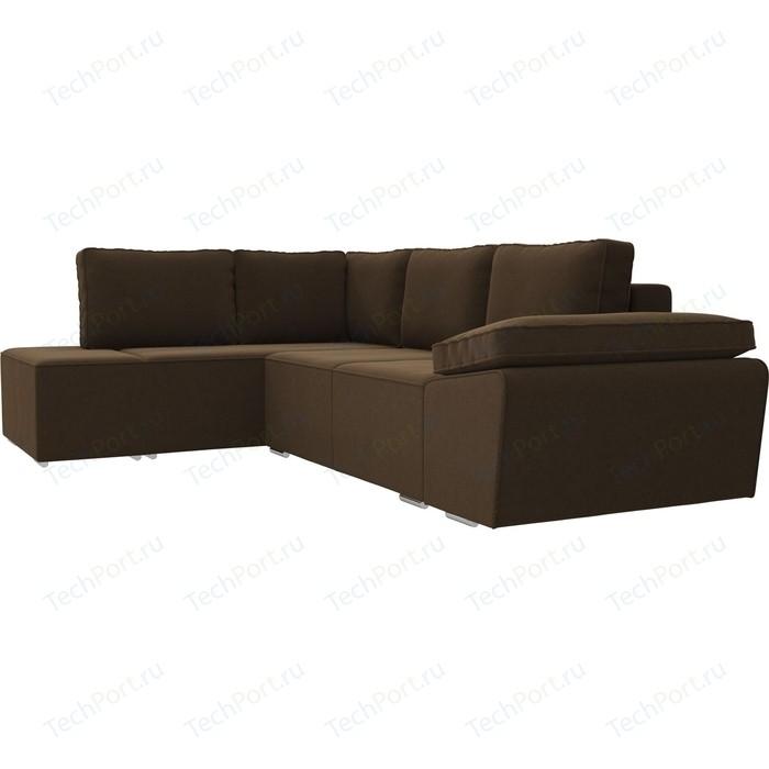 Угловой диван Лига Диванов Хавьер микровельвет коричневый левый угол угловой диван лига диванов хавьер экокожа белый левый угол