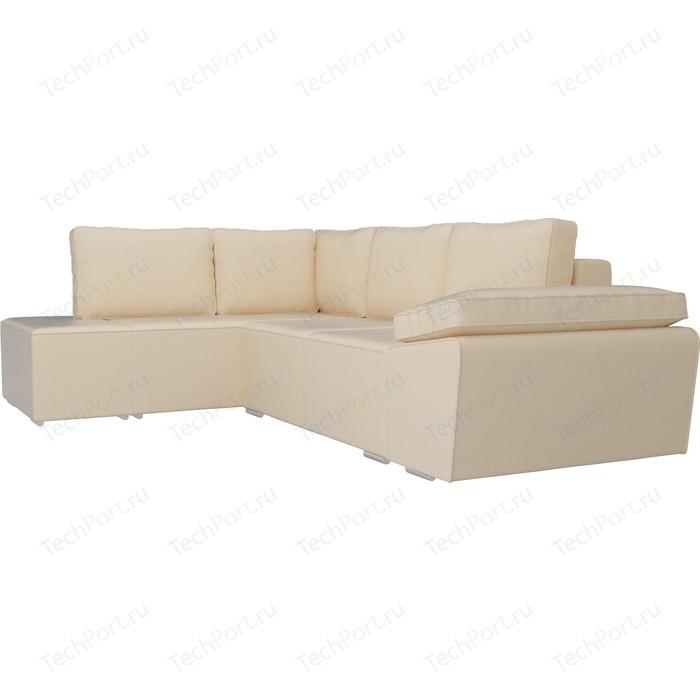 Угловой диван Лига Диванов Хавьер экокожа бежевый левый угол угловой диван лига диванов хавьер экокожа белый левый угол