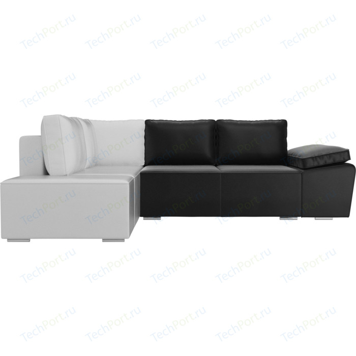 Угловой диван Лига Диванов Хавьер экокожа черный/белый левый угол угловой диван лига диванов хавьер экокожа белый левый угол