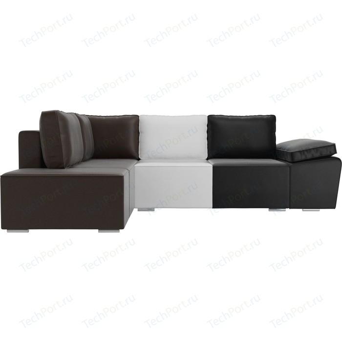 Угловой диван Лига Диванов Хавьер экокожа черный/белый коричневый левый угол угловой диван лига диванов хавьер экокожа белый левый угол