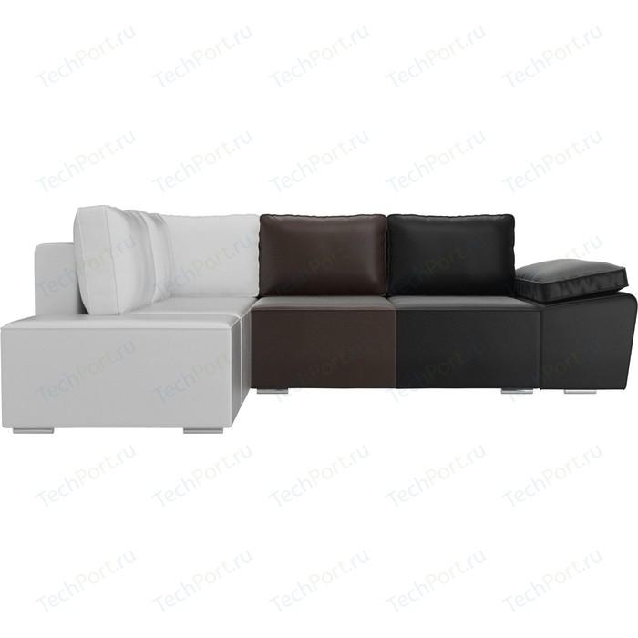 Угловой диван Лига Диванов Хавьер экокожа черный/коричневый/белый левый угол угловой диван лига диванов хавьер экокожа белый левый угол