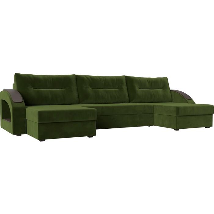 Диван Лига Диванов Канзас микровельвет зеленый П-образный диван п образный лига диванов бостон велюр mr коричневый