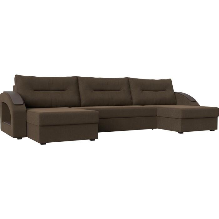 Диван Лига Диванов Канзас рогожка коричневый П-образный