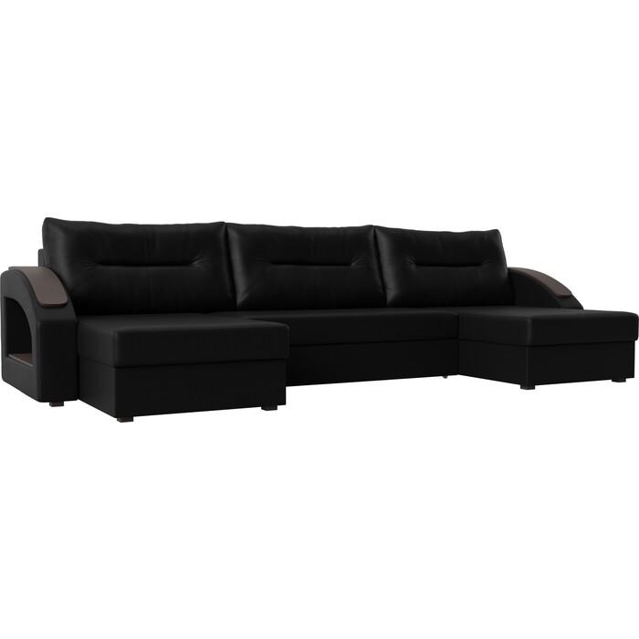 Диван Лига Диванов Канзас экокожа черный П-образный диван п образный лига диванов бостон велюр mr коричневый