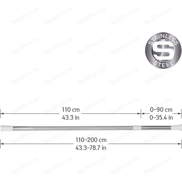Карниз Tatkraft MAST для ванной комнаты, телескопический, нержавеющая сталь, пластик, 110-200 см, диаметр 22 мм (14305)