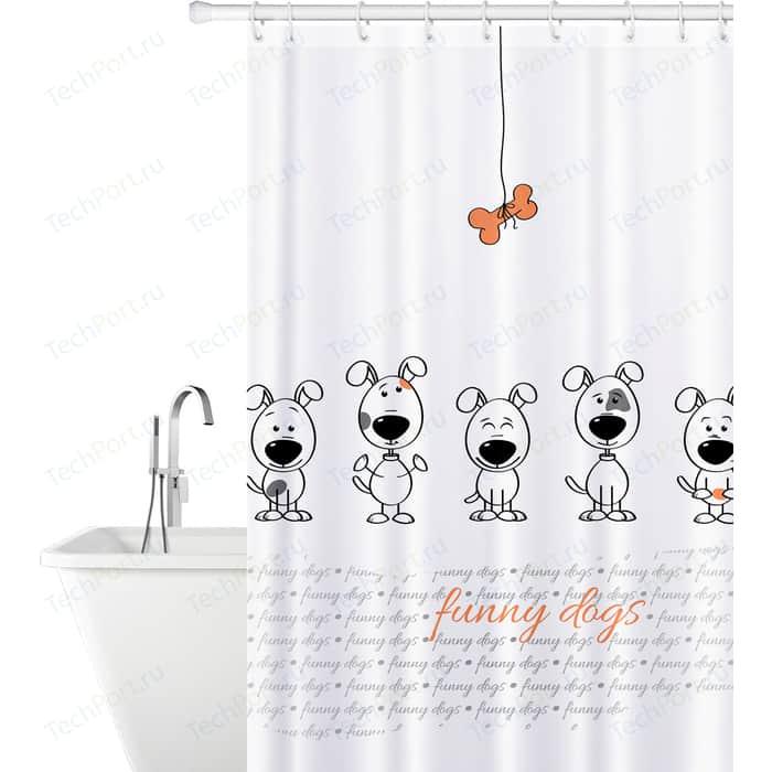 Штора для ванной комнаты Tatkraft FUNNY DOGS тканевая со специальной водоотталкивающей пропиткой и антигрибковым покрытием (18136)