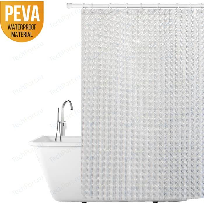 Шторка для ванной Tatkraft CHRYSTAL 3D, водонепроницаемый материал PEVA, 12 овальных колец в комплекте, хорошо пропускает свет, 180 x см (18129)