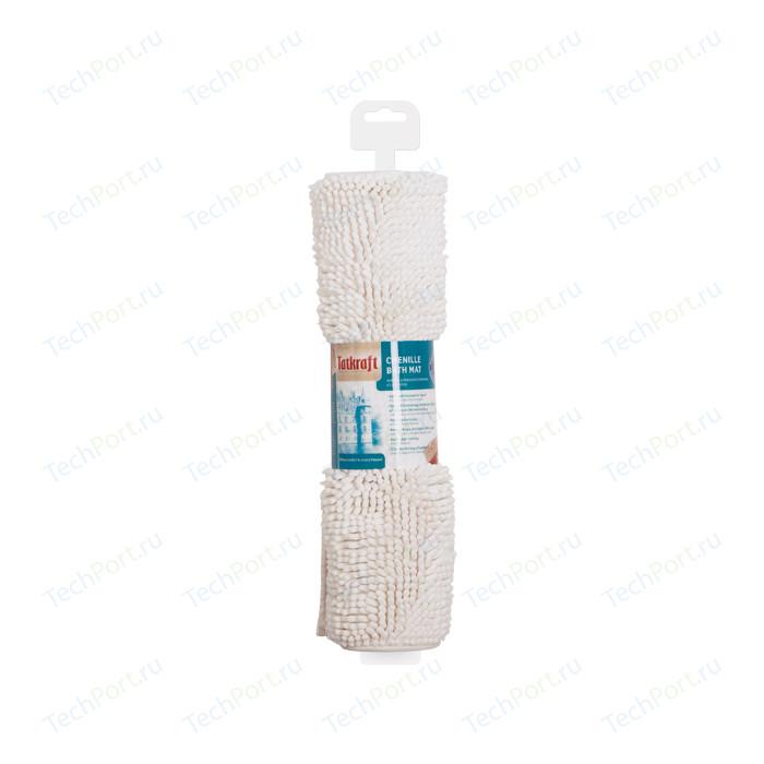 Коврик для ванной Tatkraft EVA из шенилла со специальным противоскользяшим основанием, 50 x 80 см, высота ворса 1.5 см, белый (14541)