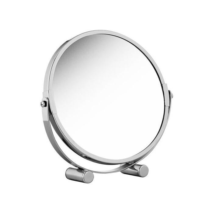 Зеркало Tatkraft EOS двустороннее косметическое настольное, регулируемое, складное с увеличением одной стороны 200%, 17 см в диаметре (11656)