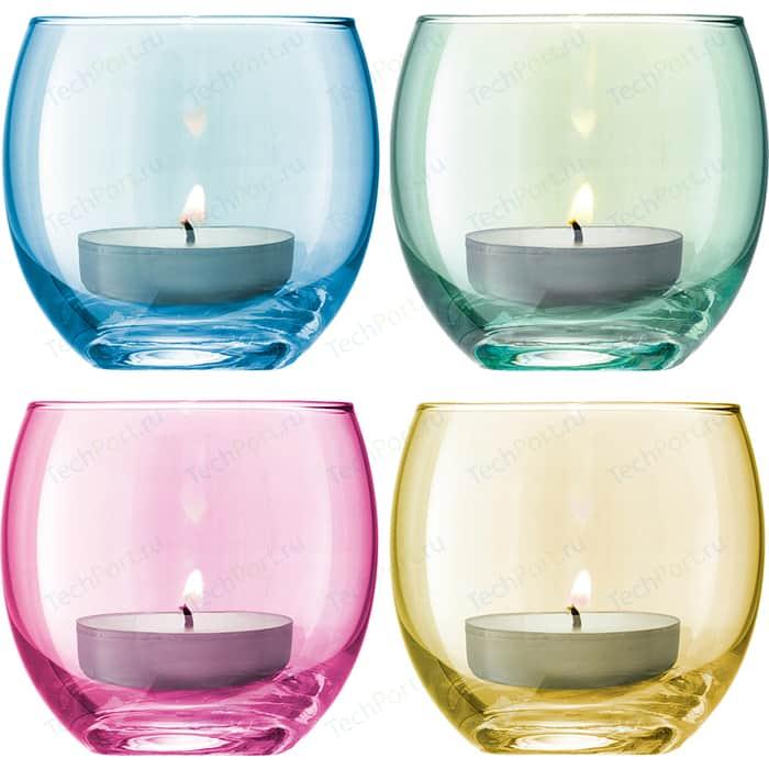 Набор из 4 подсвечников для чайных свечей пастель LSA International Polka (G570-06-294)