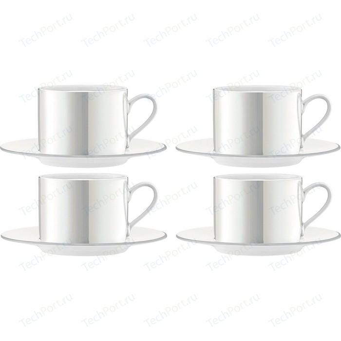 Набор из 4 чашек с блюдцем 250 мл белый перламутр LSA International Pearl (P034-11-363)