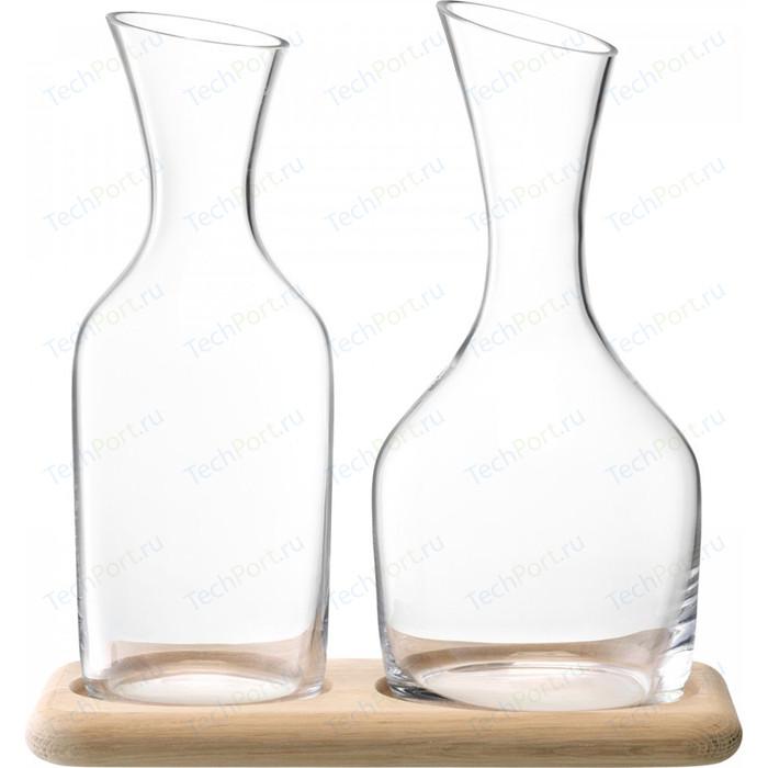 Набор из кувшинов для вина и воды LSA International (G1166-00-991) на деревянной подставке 1.2 л/1.4 л