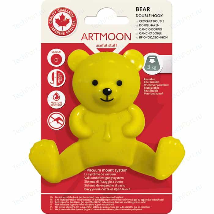 Крючок Art moon BEAR двойной Медведь на вакуумной присоске диаметр 60 мм, 9,5 х 9 х 3,5 см, макс. вес до 3 кг (699409) полка прямая одноярусная ledeme l3728 на вакуумной присоске