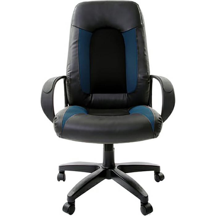 Кресло офисное Brabix Strike EX-525 экокожа черная/синяя, ткань серая TW 531378