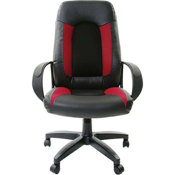 Кресло офисное Brabix Strike EX-525 экокожа черная, ткань черная/бордовая TW 531379