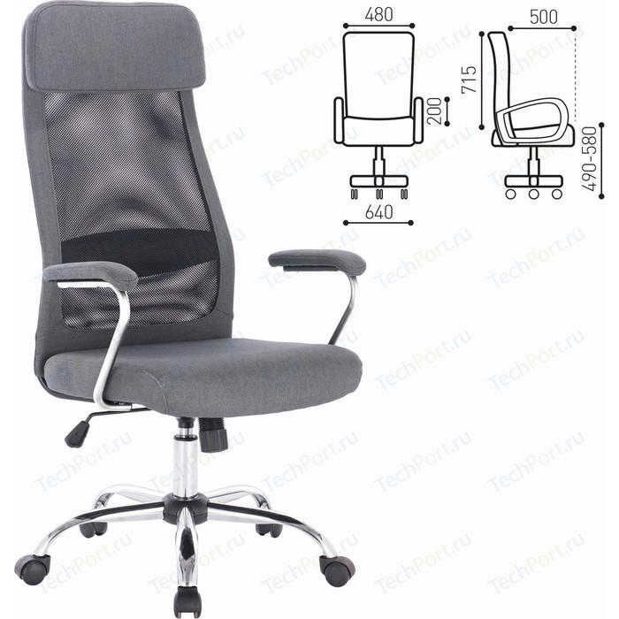 Кресло офисное Brabix Flight EX-540 хром, ткань, сетка серое