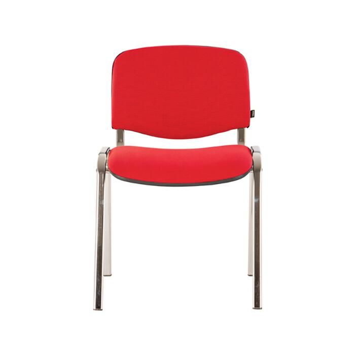 Стул для персонала и посетителей Brabix Iso CF-001 хромированный каркас, ткань красная с черным 531423