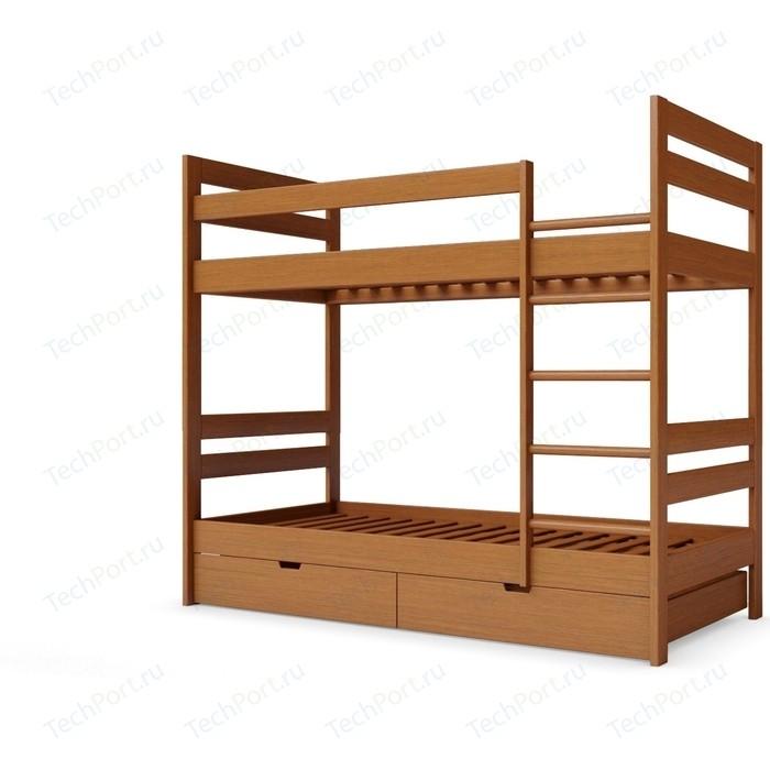 Детская двухъярусная кровать Miella Happiness 80x200 орех