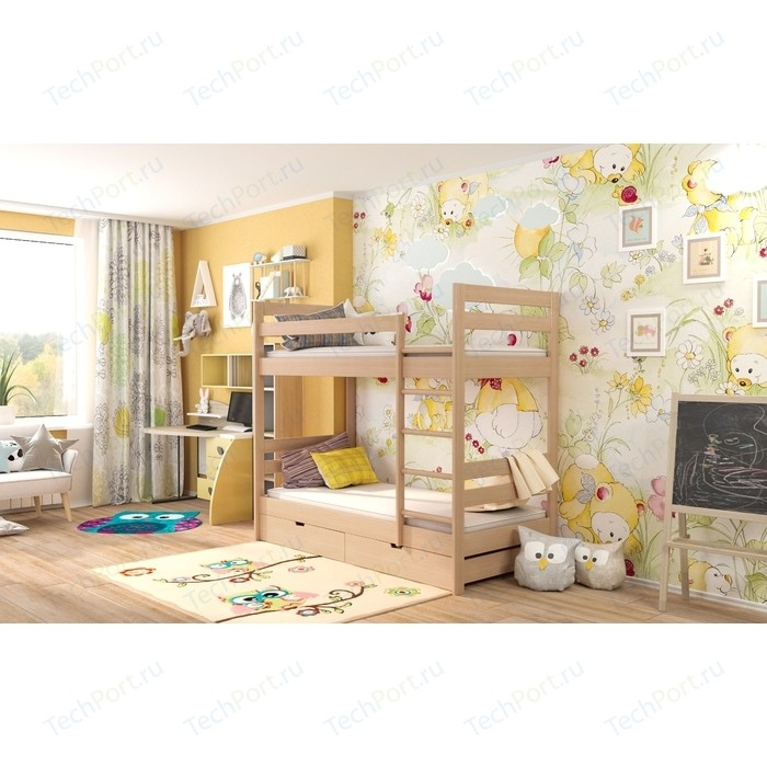Детская двухъярусная кровать Miella Happiness 90x190 натуральный