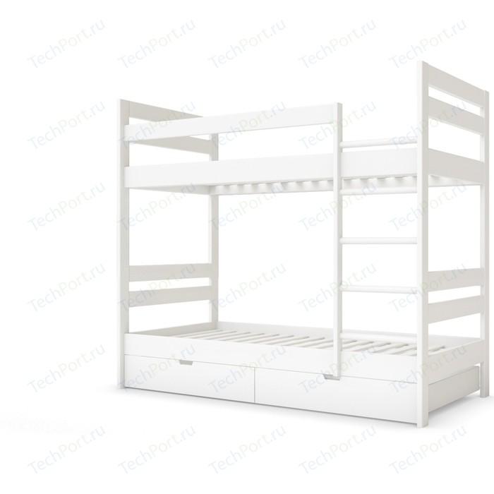 Детская двухъярусная кровать Miella Happiness 80x200 белый (эмаль)