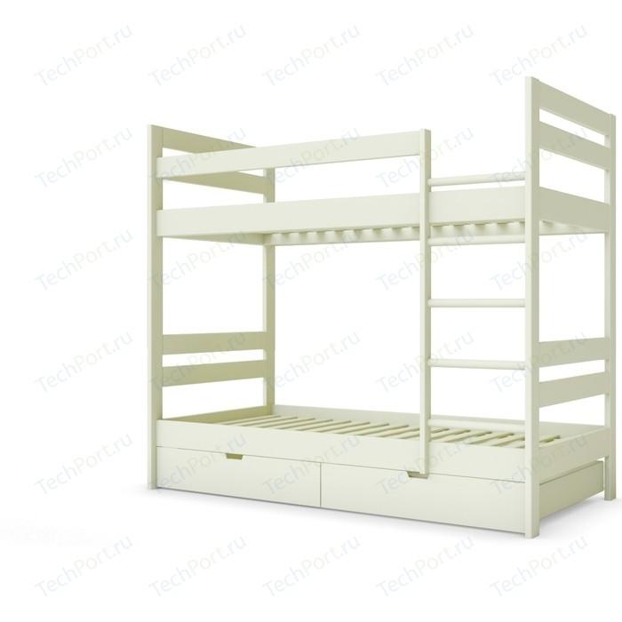 Детская двухъярусная кровать Miella Happiness 90x195 слоновая кость (эмаль)