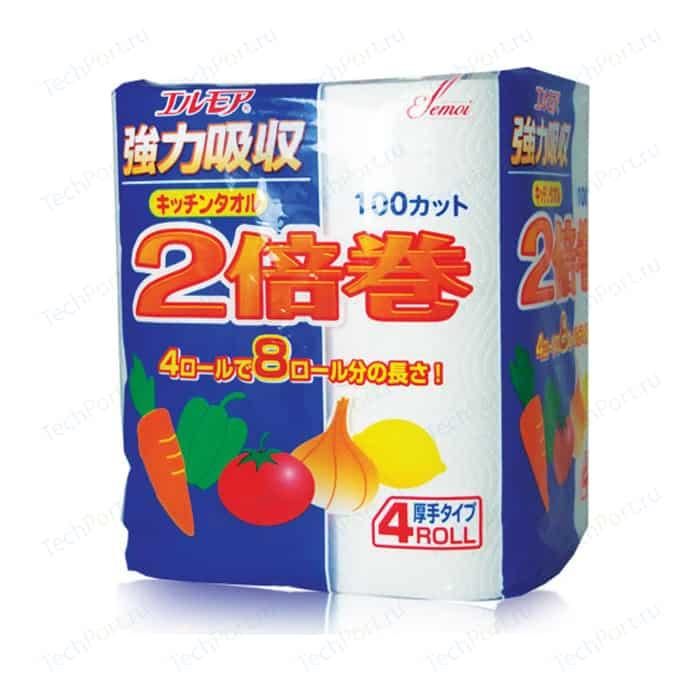 Полотенца бумажные Kami Shodji ELLEMOI 2 слоя 4 рулона х 100 листов салфетки бумажные kami shodji ellemoi pink розовые с коэнзимом q10 я слоя 180 шт в пачке спайка из 3 пачек