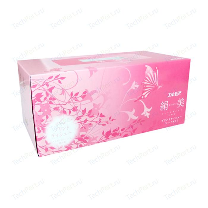 Салфетки бумажные Kami Shodji ELLEMOI Kinu-bi розовые с шелком 2 слоя 200 шт в пачке носовые платочки kami shodji ellemoi 2 слоя 10 штук в пачке спайка из 20 пачек