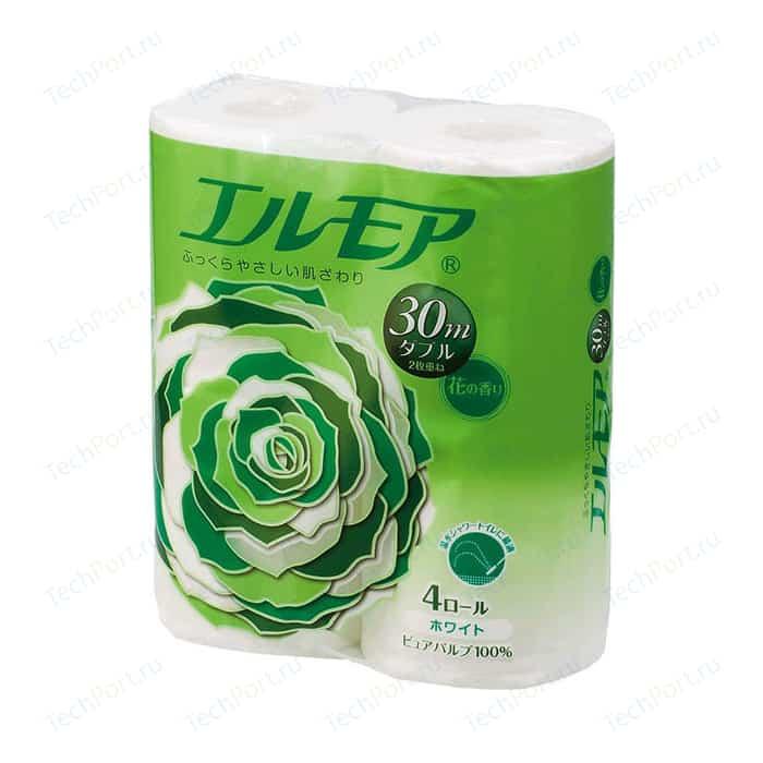 Туалетная бумага Kami Shodji ELLEMOI ароматизированная 2 слоя, 4 рулона 30 м носовые платочки kami shodji ellemoi 2 слоя 10 штук в пачке спайка из 20 пачек
