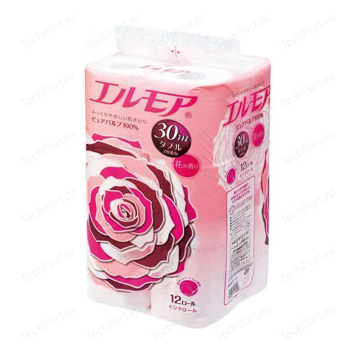 Туалетная бумага Kami Shodji ELLEMOI ароматизированная, розовая 2 слоя, 12 рулонов 30 м