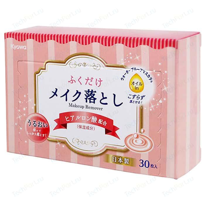 Влажные салфетки Kyowa для снятия макияжа с гиалуроновой кислотой, 30 шт в коробке