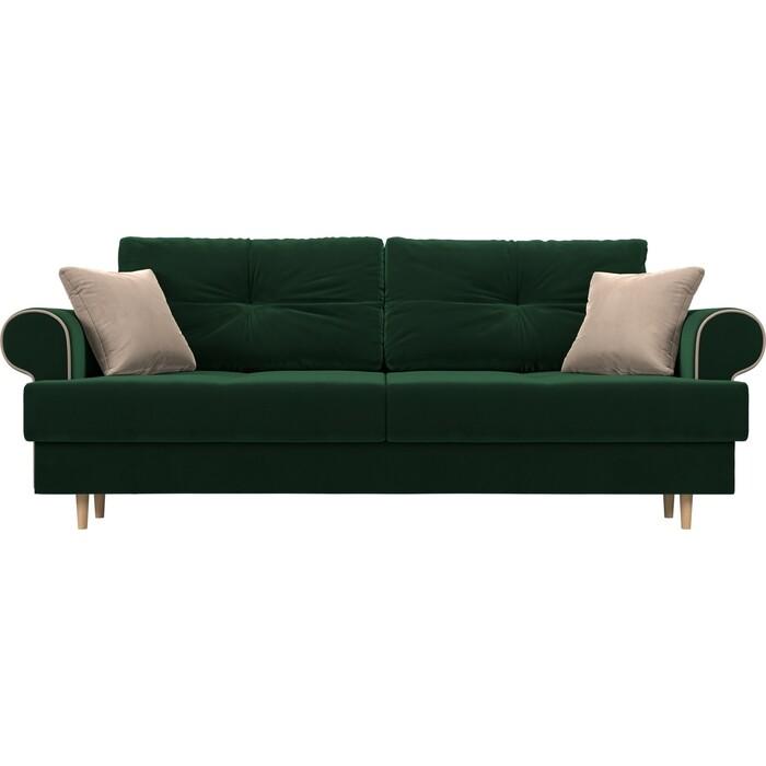 Прямой диван Лига Диванов Сплин велюр зеленый подушки бежевые