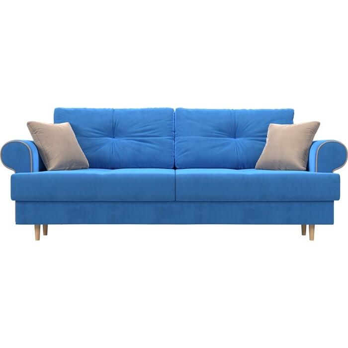 Прямой диван Лига Диванов Сплин велюр голубой подушки бежевые