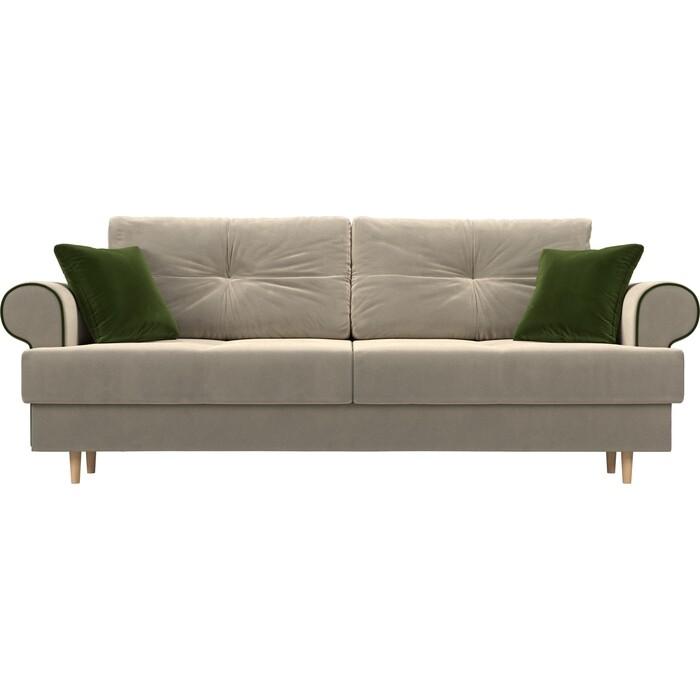 Прямой диван Лига Диванов Сплин микровельвет бежевый подушки зеленые подушки