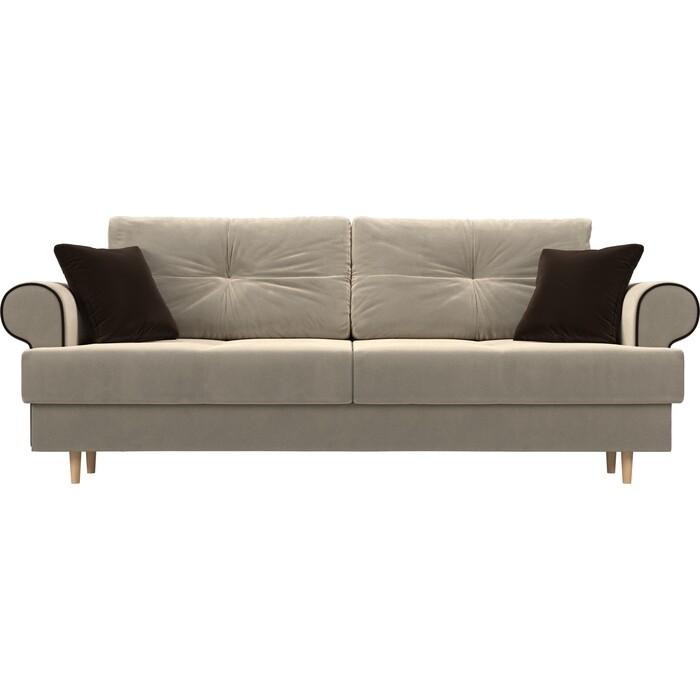 Прямой диван Лига Диванов Сплин микровельвет бежевый подушки коричневые