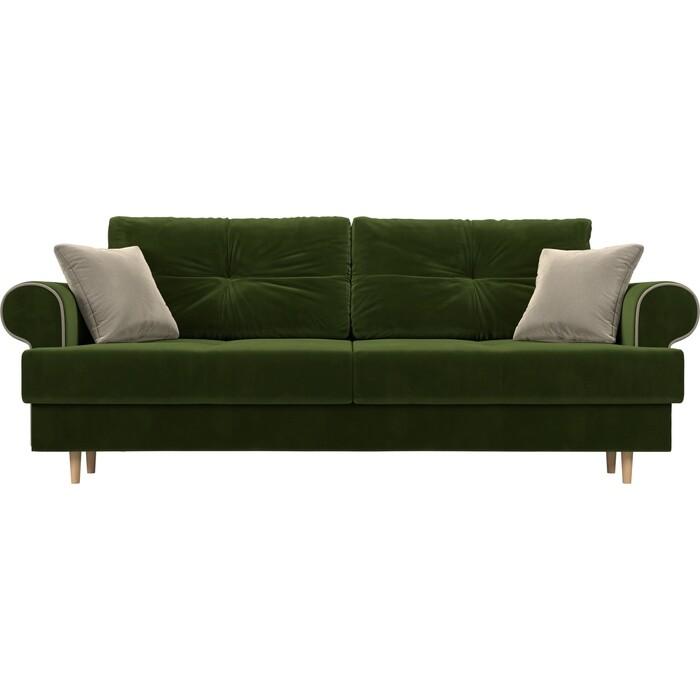 Прямой диван Лига Диванов Сплин микровельвет зеленый подушки бежевые