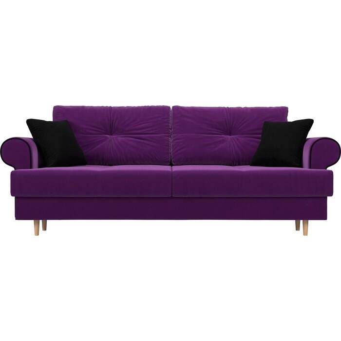 Прямой диван Лига Диванов Сплин микровельвет фиолетовый подушки черные