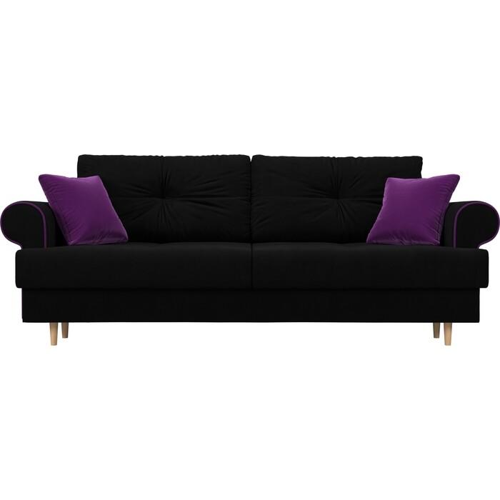 Прямой диван Лига Диванов Сплин микровельвет черный подушки фиолетовые