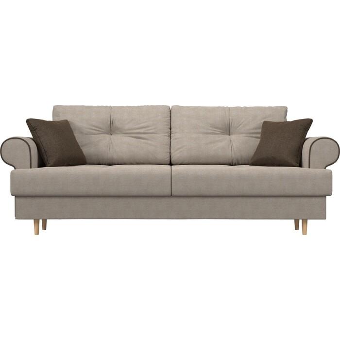 Прямой диван Лига Диванов Сплин рогожка бежевый подушки коричневые