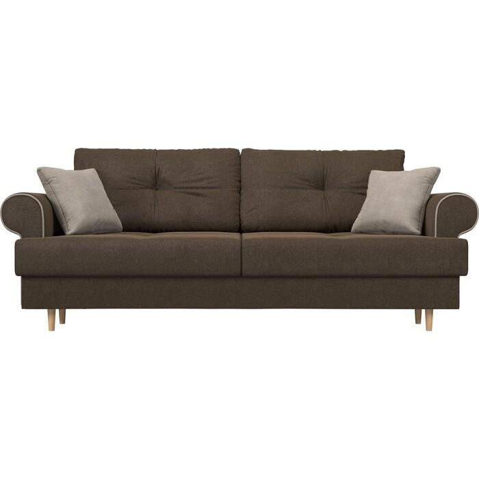 Прямой диван Лига Диванов Сплин рогожка коричневый подушки бежевые