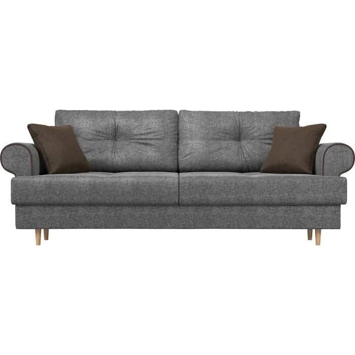 Прямой диван Лига Диванов Сплин рогожка серый подушки коричневые